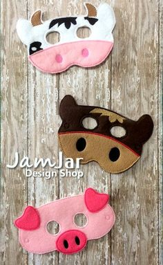 6 Pc. SET Dress Up BARNYARD FARM Animal Masks by JamJarDesignShop