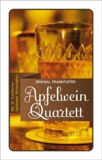 Beim Apfelwein Quartett werden 32 Frankfurter Apfelweinwirtschaften miteinander verglichen. Es zählen Sitzplätze, Schoppenpreise, der größte Bembel u.v.m.