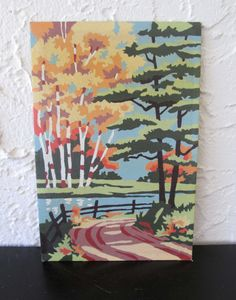 Birches and Evergreens 4Q3 Craft Master 1958 Mid Century Vintage Paint by Number PBN Unframed Painting AtomicPutz.com