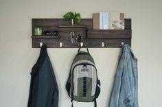 Coat Rack Wall Mounted with Mail Storage Coat Hooks and Key Hooks