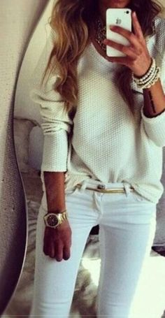 White skinnys & gold
