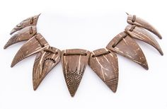 """African art coconut shell hand carved women necklace """"Akonadi""""  gift for her natural mystic tribal eco woodcarving handmade brown neckl - $120.00 USD"""
