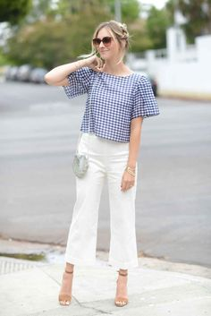 Dipped in Gingham - Cupcakes & Cashmere Crop Top Outfits, Basic Outfits, Stage Outfits, Casual Outfits, Gingham Shirt Outfit, Gingham Pants, Indian Fashion Dresses, Asian Fashion, Fashion Pants