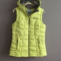 Columbia DOWN vest Hooded WARM nice quality down. Like new worn 1x    Bright yellow wit grey interior. Zip up. Columbia Jackets & Coats Vests