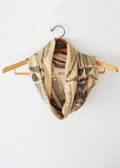 Going Hunting- Black and Camel - jersey hand printed circle scarf $38