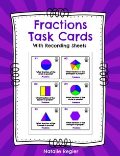 Great editable classroom materials @teachersherpa The Fractions Task Cards package contains 24 task cards and a recording sheet. Students look at each task and record their response on the recording sheet. Questions require students to identify what fraction of the shape on the card is purple.