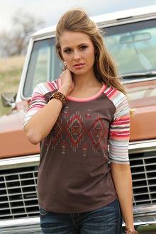Cruel Girl Brown Loose Fit Tee w/Striped Sleeves