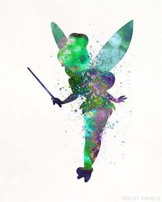 Tinker Bell, Peter Pan Disney Watercolor Print. Prices from $9.95. Available at InkistPrints.com - #disney #watercolor #babyart #decor #nurseryart #Tinkerbell #Peterpan