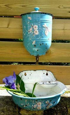 French Blue Raised Floral Enamelware Graniteware Lavabo Fountain Shabby Chic | eBay