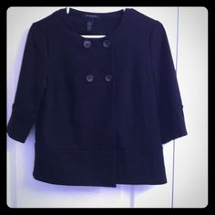Cute little black blazer A black blazer is a must have in any closet . The sleeves are cropped and it sits right at the waist. Cute with jeans or slacks you can wear it unbuttoned or bottomed. Great quality and worn once or twice. I have a few black blazers so this one needs a new home. Soft material. Open to offers Banana Republic Jackets & Coats Blazers