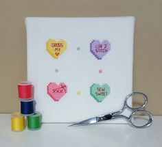 Stitch Pun Valentine Candy Hearts  cross stitch by justplanejen