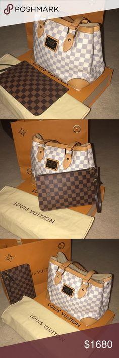 d951aa54791c Authentic Louis Vuitton Damier Set- Bag+clutch Louis Vuitton Hampstead Tote  Damier azur And Louis Vuitton Wristlet Damier ebene brown Neverfull GM  pouch ...