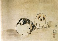 Curated by Dr. Japanese Woodcut, Japanese Painting, 2d Art, Japan Art, Dog Portraits, Western Art, Woodblock Print, Vintage Japanese, Chinese Art