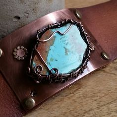 Rare Kingman Mine Turquoise with Red Matrix~ Leather Bracelet fits 7 or 8 inch wrist~Stunning♡