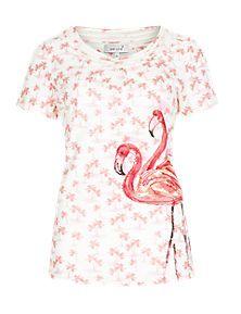 Fuchsia Mix Pure Cotton Flamingo Placement Print T-Shirt
