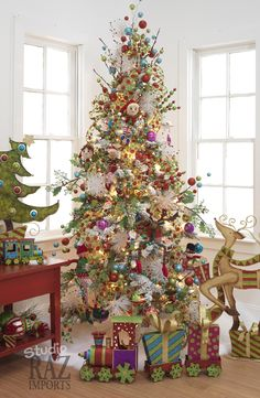 Collection of RAZ 2011 decorated Christmas Trees, shop Trendy Tree for stunning, whimsical Christmas and holiday decorations. Whimsical Christmas Trees, Beautiful Christmas Trees, Xmas Trees, Magical Christmas, Noel Christmas, Winter Christmas, Tacky Christmas, Christmas Train, Modern Christmas