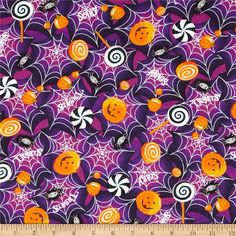 Horror Scope Webs & Jack-O-Lanterns Purple from @fabricdotcom  This cotton print is perfect for quilting, apparel and home decor accents.  Colors include white, black, grey, purple and orange.