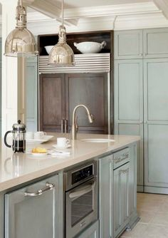 love the color of these cabinets. http://adoreyourplace.com/2013/06/03/kitchen-island-lighting-rescue/