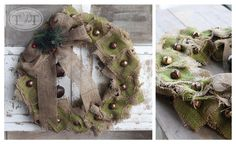 Burlap Wreath with Jingle Bells, Bow & Pine