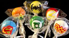 Superhero cake pops. Perfect for a superhero theme party!