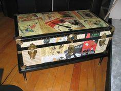 "Decoupage Furniture   storage trunk (36""x20"") with decoupage of vintage theatre program ..."