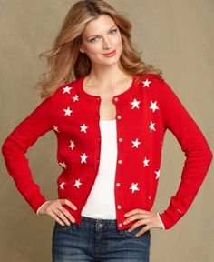 #TommyHilfiger Sweater, Long-Sleeve Printed Cardigan from Macy's via Catalog Spree! $55.99