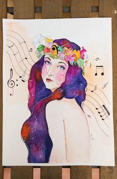 Retrato Galaxias y música -  Acuarela y tinta sobre papel POR ENCARGO, regalo de…
