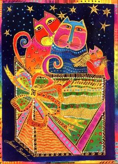 Beautiful jeweler and artist Laurel Burch - Beauty will save Laurel Burch, Christmas Animals, Christmas Cats, Christmas Fabric, Christmas Greeting Cards, Christmas Greetings, Cat Quilt, Cat Colors, Cat Crafts