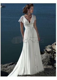Abiti da Sposa Spiaggia-V-collo abiti da sposa spiaggia modesto impero in chiffon
