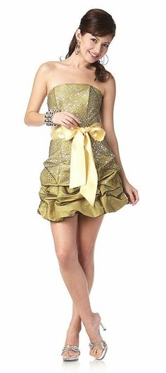 Short Strapless Yellow Prom Cocktail Dress Ribbon Bow Bubble Hem Ruched Glitter $96.99