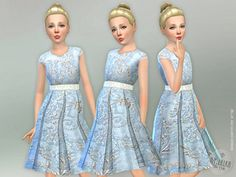 Blue Jacquard Dress Found in TSR Category 'sims 4 Female Child Everyday' Toddler Cc Sims 4, Kids Bridesmaid Dress, Cinderella, Floral Applique Dress, Sims 4 Cc Kids Clothing, Sims 4 Children, Sims 4 Collections, Blue Sequin Dress, Sims 4 Dresses