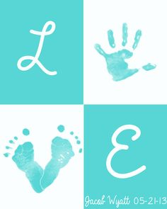 Personalized Baby Handprint/ Footprint Art by OurLittleMoments Crafts To Do, Crafts For Kids, Summer Crafts, Foto 3d, Diy Y Manualidades, Handprint Art, Baby Art, Baby Feet Art, Baby Time