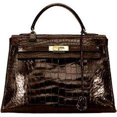 This chocolate Hermes Vintage Crocodile Kelly Handbag is gorgeous!!!