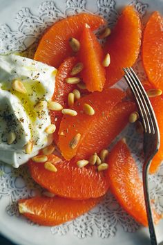 Simple Snacks with @Laura Jayson | The First Mess: Cara Cara Oranges and Yogurt, Olive Oil, Za'atar and Pine Nuts.