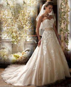 2016 New White/Ivory Lace Wedding Dress Bridal Gown Custom Size 4 6 8 10 12 14 16
