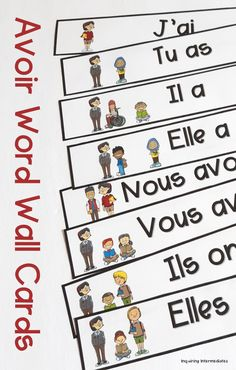 Avoir conjugation is such an important skill for students taking French as a Second Language, Core French, or French Immersion! These word wall cards have clear writing and helpful visuals to help students remember this important verb. La conjugaison des verbes français, avoir mur des mots Core French, French Teacher, French Immersion, Second Language, Students, Teaching, Activities, Writing, Words