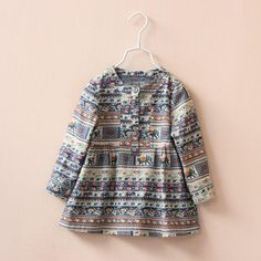 2015 Princess Babies Girls Vintage Print Buttons Dresses Classic Long Sleeve Christmas Fall Winter Dress Western Fashion Casual Dresses From Smartmart, $49.67 | Dhgate.Com
