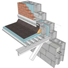 This collection includes many common connection details between two or more architectural elements so crucial in ensuring a building envelope is waterproof and well-insulated. Concrete Masonry Unit, Masonry Wall, Roof Structure, Steel Structure, Roof Flashing, Brick Construction, Roof Detail, High Walls, 3d Warehouse