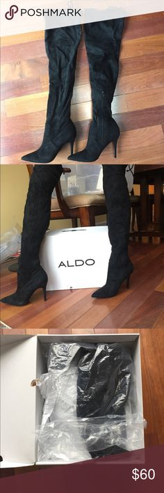NEW Aldo Black Asteille Knee High Boots Over-the-knee boot Closed pointy toe Single sole stiletto Zipper closure Aldo Shoes Over the Knee Boots