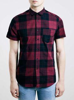 Burgundy Tartan Short Sleeve Shirt