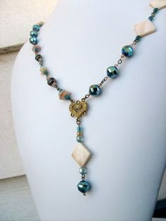 Long Y Style Aqua Crystal Bead Necklace With Cream and Gold Diamond Shaped beads Ideas