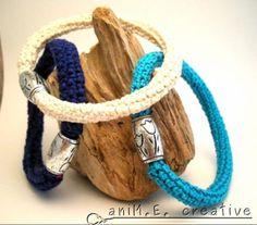 2***bracciali all'uncinetto chiusi bracciali crochet filo di cotone,perlina in legno colorato crochet / uncinetto