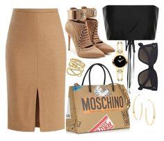 Tan, Black & Gold by carolineas on Polyvore featuring polyvore, fashion, style, The Row, MaxMara, Puma, Moschino, Lana, Movado, CÉLINE and clothing