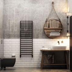 Дизайн ванной комнаты в индустриальном стиле. Industrial Interior Design. Modern bathroom. #design #industrial #interior design #дизайн интерьера #индустриальныйстиль #современныйдизайн #дизайнквартиры