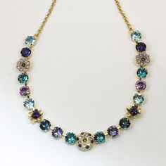 Teal Purple Peacock Necklace Gold Aqua Blue Navy Green by TIMATIBO