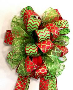 Christmas Tree Topper, Holiday Deluxe Three Ribbon Christmas Mailbox Swag Bow