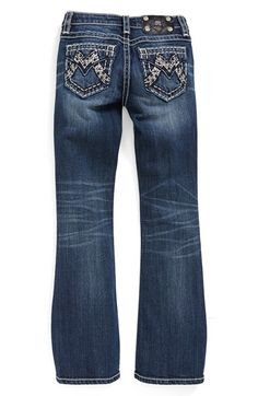 Miss Me Contrast Stitch Stretch Bootcut Jeans (Big Girls) available at #Nordstrom