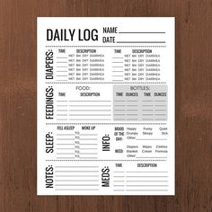 free printable baby care log baby pinterest baby care free
