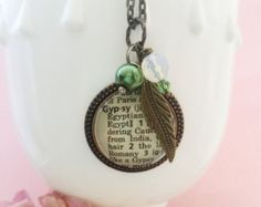 Gypsy girl Definition Necklace ~ One of a Kind Vintage Dictionary Word pendant
