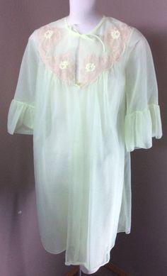 ecb27e0e7b Vintage 1960 s Deena Neon Lime Sheer Nylon Mini Robe Peach Lace Sweep  (327f)  Deena